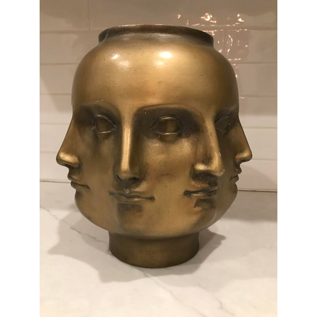 Gold Modern Pietro Fornasetti Style Dora Marr Gold Perpetual Face Vase For Sale - Image 8 of 8