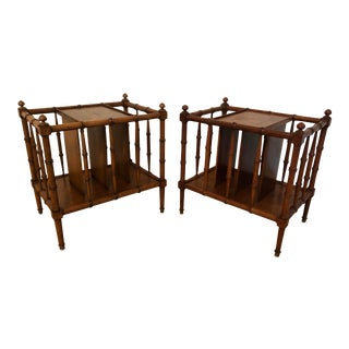 Vintage Mid-Century Baker Burlwood and Faux Bamboo Accent Tables Magazine Racks - a Pair For Sale