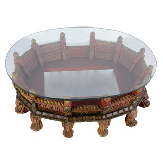 Wooden Carved Painted Low Profile Coffee Table With Glass Top For Sale