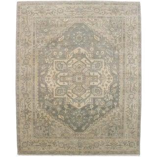 Tan Geometric 8x10 Heriz Serapi Oriental Rug For Sale