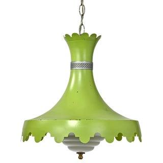Mid-Century Green Milk Glass Shade Pendant Light