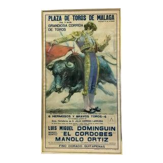 1970s Framed Spanish Bullfighting Poster, Plaza De Toros De Malaga For Sale