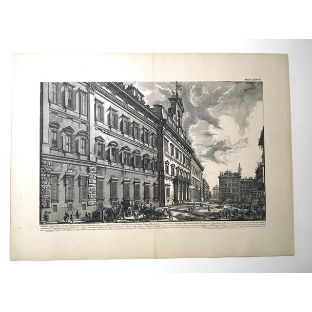 "Lithograph ""Veduta Della Gran Curia Innocenziana"" Antique Architectural Lithograph After Piranesi For Sale - Image 7 of 7"
