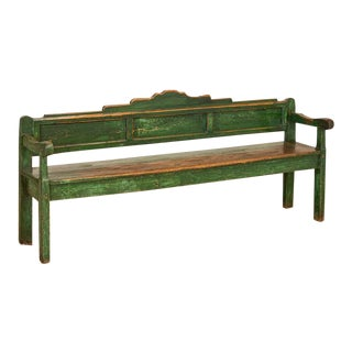 Antique 6.5' Long and Narrow Original Green Painted Bench For Sale
