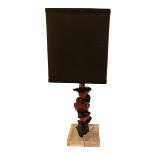 Murano Red & Black Glass Small Table Lamp, by Artist Luigi Benzoni For Sale