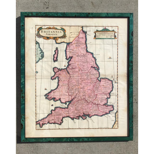 Wood Antique 1695 Framed Map of Saxon England & Wales For Sale - Image 7 of 7