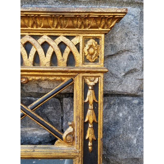 Empire Italian Neoclassical Empire Style Giltwood Large Mirror For Sale - Image 3 of 11