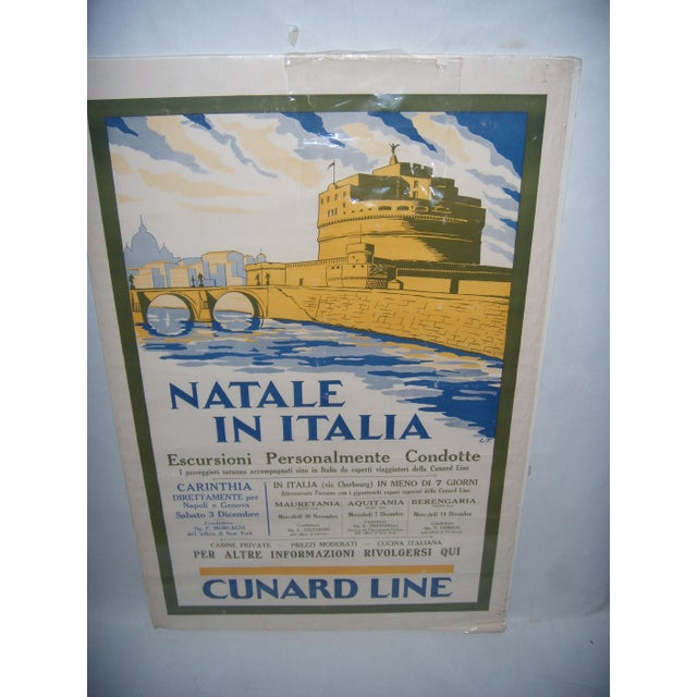 Original Vintage Cunard Line Italy Travel Poster - Image 3 of 3