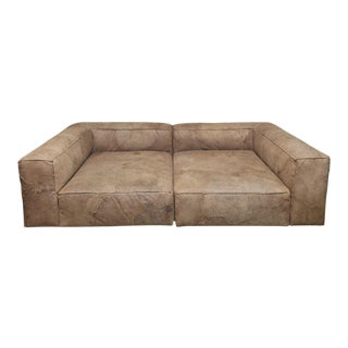Restoration Hardware Fulham Daybed Leather Sofa For Sale
