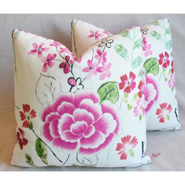 "French Manuel Canovas Floral Linen Feather/Down Pillows 20"" Square - Pair For Sale - Image 12 of 13"