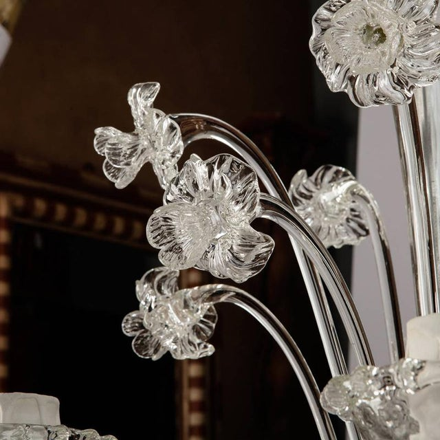 Venetian Five Light Clear Glass Daffodil Chandelier For Sale In Detroit - Image 6 of 8