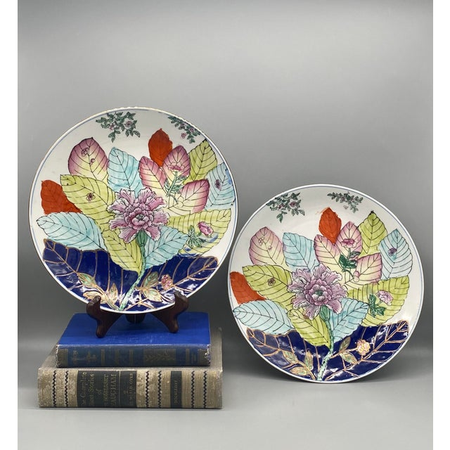 Stunning plates hand painted with the gorgeous and very trendy tobacco leaf pattern. Painted in a watercolor style with...