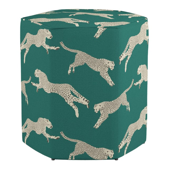 Hexagonal Ottoman in Polo Green Cheetah By Scalamandre For Sale