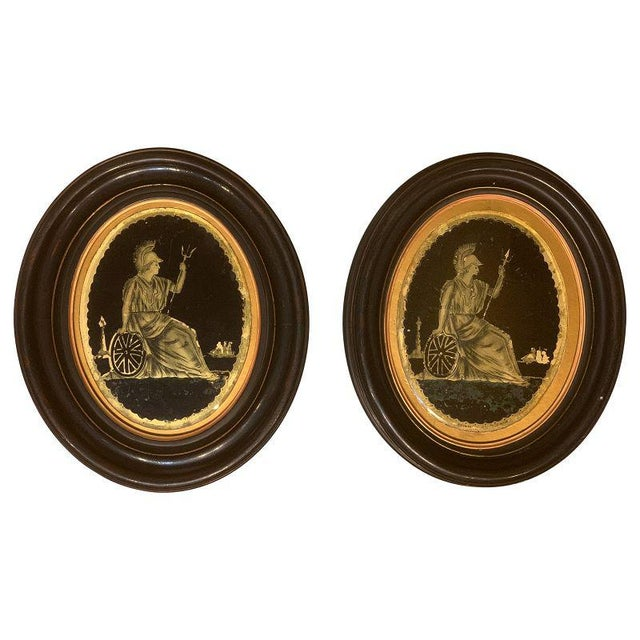 English Pair of Framed Oval Eglomise Panels of Classical Figures For Sale - Image 3 of 3