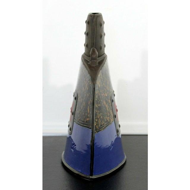 Mid 20th Century Mid Century Modern Studio Ceramic Red Square Vessel Vase Table Sculpture For Sale - Image 5 of 9