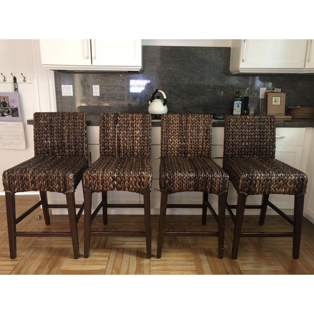 Modern Woven Seagrass Counter Stools- Set of 4 For Sale - Image 9 of 9