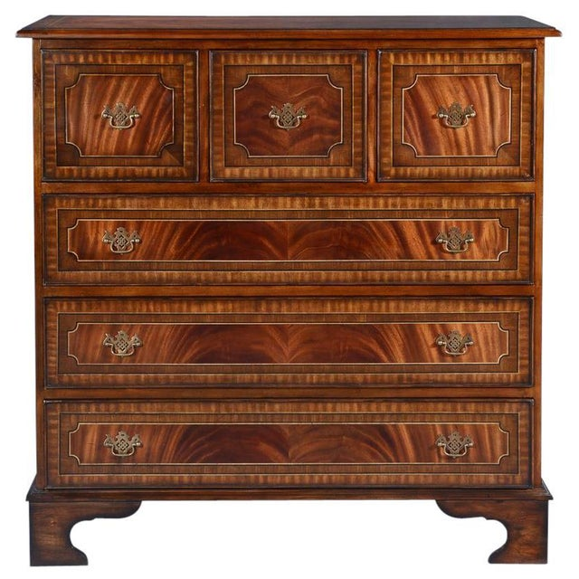 Wood Chest of Drawers English Flame Mahogany Banded For Sale - Image 7 of 7