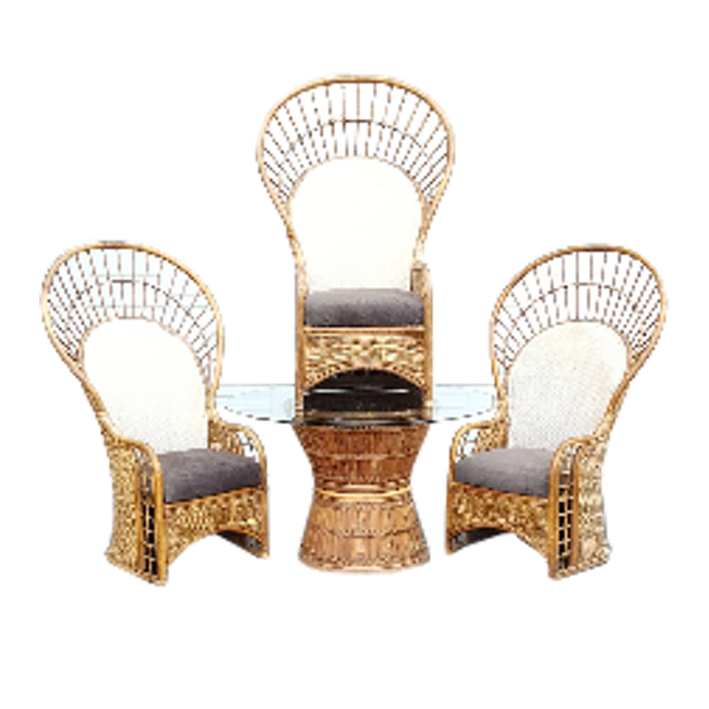 Bamboo Peacock Fan Chairs And Glass Table   Set Of 4