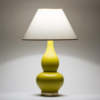 Casa Cosima Double Gourd Table Lamp, Citron Craquelure/Ivory Shade Preview