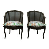 Image of 1950s Vintage French Caned Accent Side Tub Chairs -A Pair For Sale