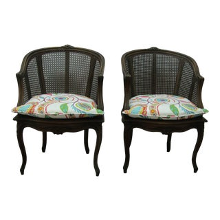 1950s Vintage French Caned Accent Side Tub Chairs -A Pair For Sale