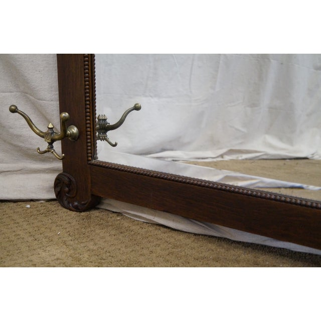 Antique Victorian Oak Carved Hall Mirror - Image 9 of 10