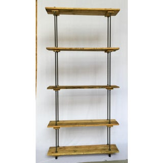 Bauhaus Tall Recycled Wood and Metal Rod Adjustable Bookcase Shelf Preview