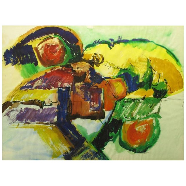 Anne Jansen Water Color and Ink Abstract Painting, circa 1970 For Sale