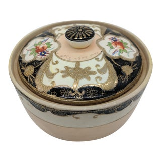 1920's Pink & Black Hand Painted Porcelain Trinket Box For Sale