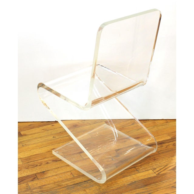 Plastic Modern Lucite 'Z' Cantilever Chair For Sale - Image 7 of 11