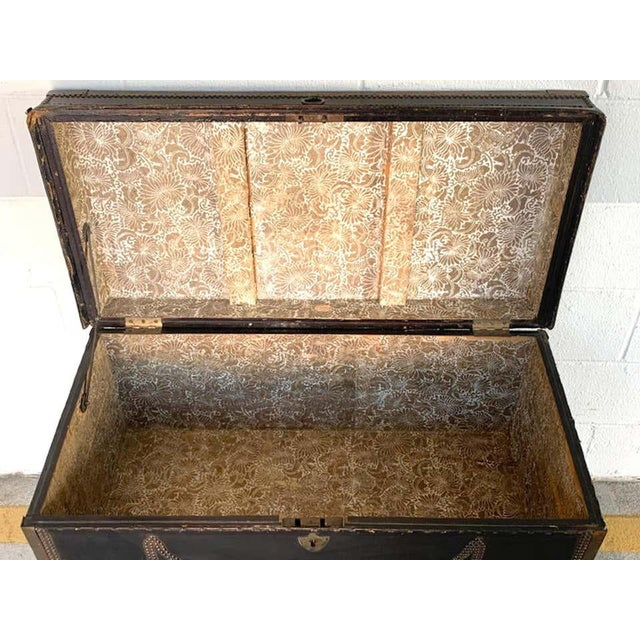 19th Century English Regency Brass Studded Leather Chest on Stand For Sale - Image 9 of 10