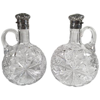 19th Century Gorham Sterling and Cut Glass Decanters - a Pair For Sale