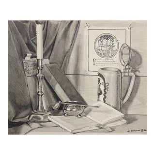 Monochromatic German Still Life in Ink, 1938