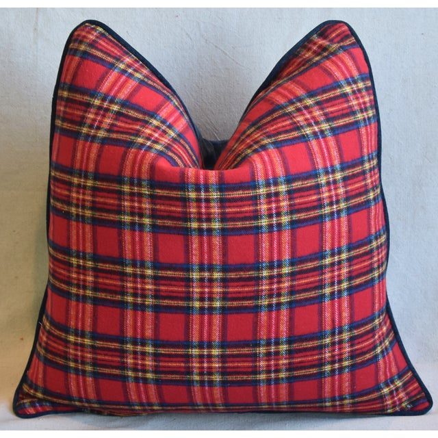 Feather Red, Blue & Yellow Tartan Plaid Feather/Down Pillow For Sale - Image 7 of 7