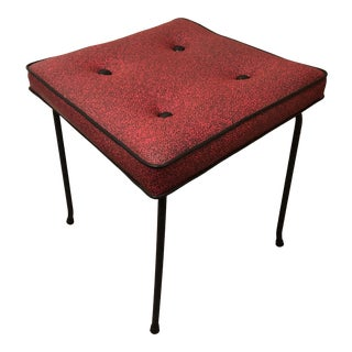 1960s Mid Century Red and Black Vinyl Tufted Ottoman For Sale