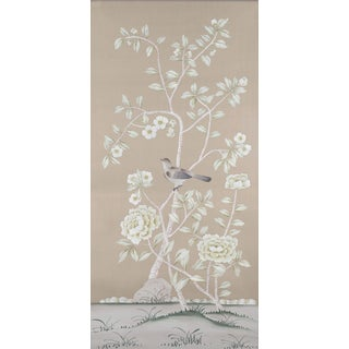 "Chinoiserie Simon Paul Scott for Jardins en Fleur ""Donnington"" Hand-Painted Silk Panel For Sale"