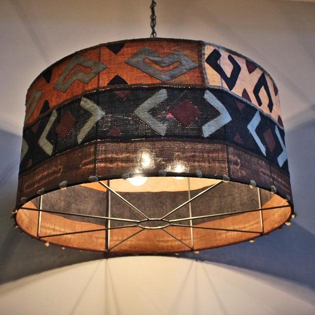 Kuba Cloth Drum Shape Chandelier For Sale - Image 4 of 5