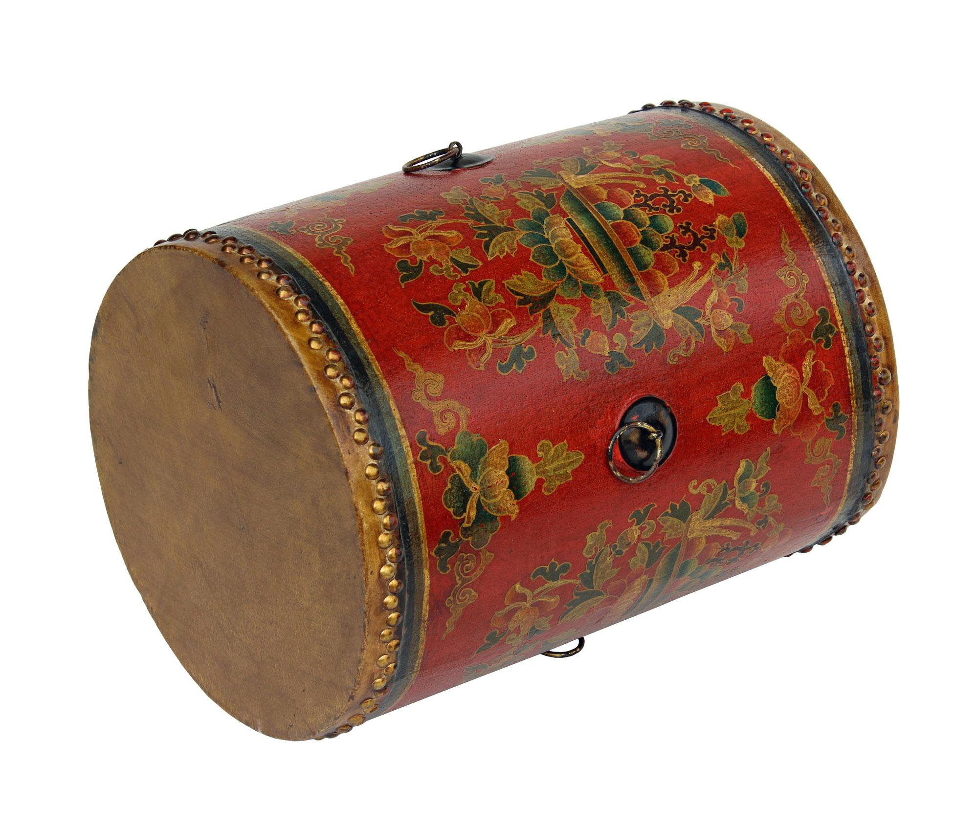Distressed Chinese Tibetan Drum Shape Red Floral Coffee Side Table   Image  4 Of 6