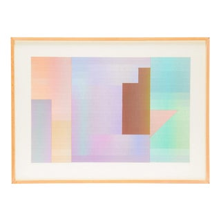 Vintage Abstract Geometric Painting on Paper For Sale