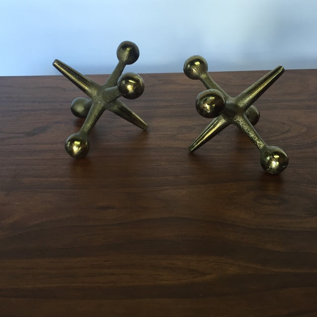 Bill Curry Mid-Century Cast Iron Jacks Brass Pair - Image 6 of 6