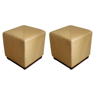 Pair of Camel Leather Stools For Sale