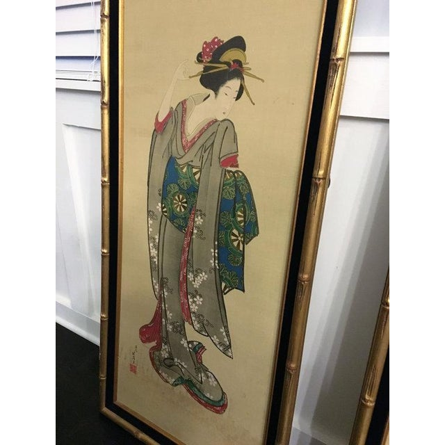 Chinese Gold Bamboo Geisha Paintings - Pair - Image 2 of 5