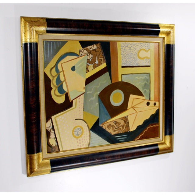 For your consideration is a framed oil and collage on board with laminated canvas, signed Helen Riedel. (German 1901) In...