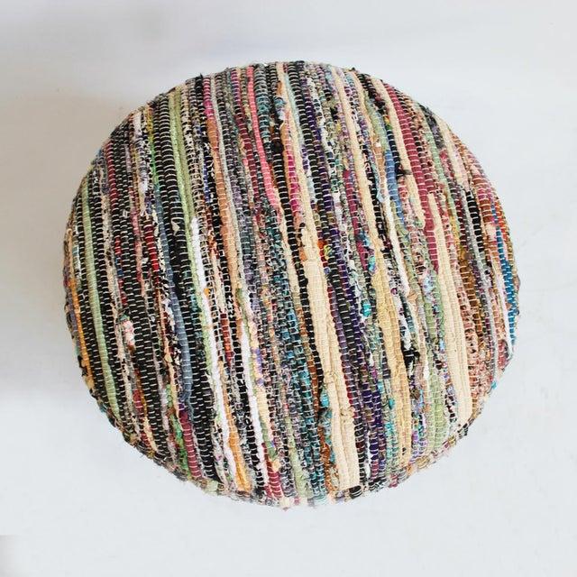Sari Rug Stool. Repurposed sari cloth remnants hand weaved to create fun & colorful ottoman stools. Each unique. Custom...