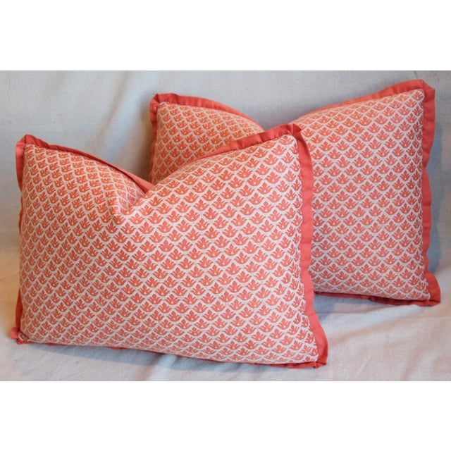 "Red Italian Marion Fortuny Canestrelli Feather/Down Pillows 23"" X 17"" - Pair For Sale - Image 8 of 13"