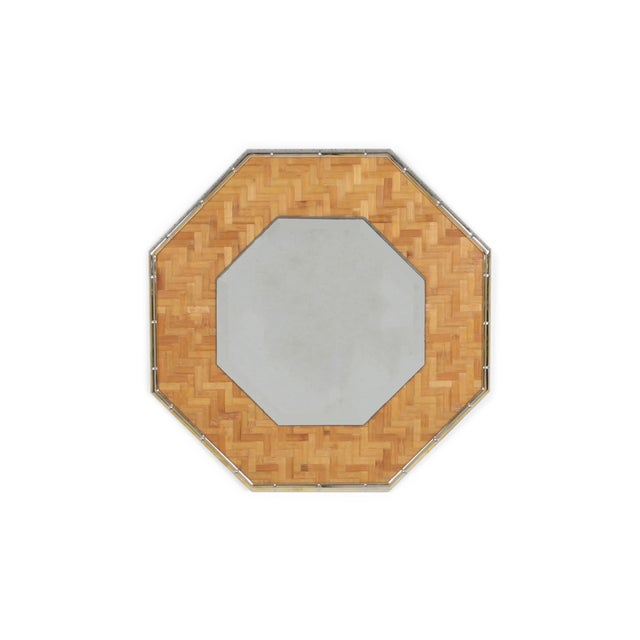 Metal Brass and Bamboo Octagonal Mirror For Sale - Image 7 of 7