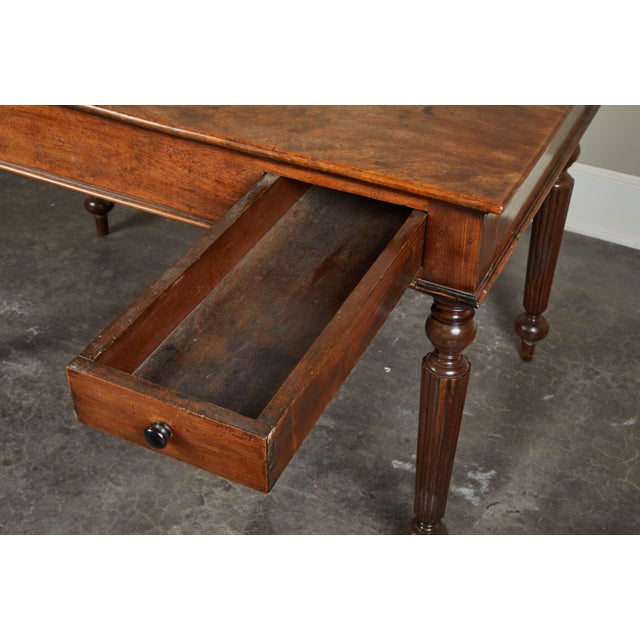 French Colonial Single-Piece Rosewood Top Desk For Sale - Image 10 of 13