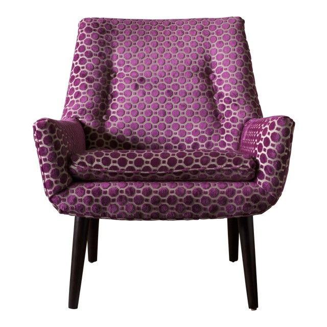 "Mid-Century ""Mrs. Godfrey"" Magenta Upholstered Chair For Sale"