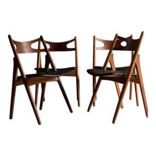 Hans J Wegner CH29 Sawbuck Teak Dining Chairs by Carl Hansen, Denmark 1950s - Set of 4 For Sale