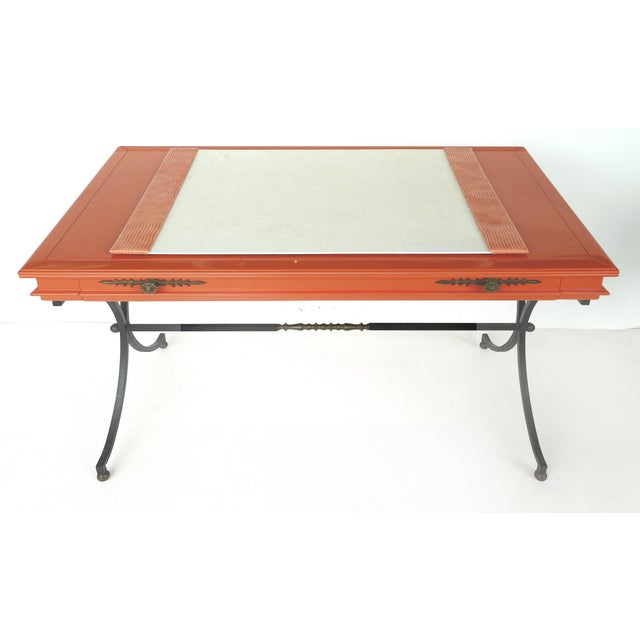 Italian orange lacquer wrought iron desk and chair set Offered for sale is an Italian Mid-century Modern lacquered wood...